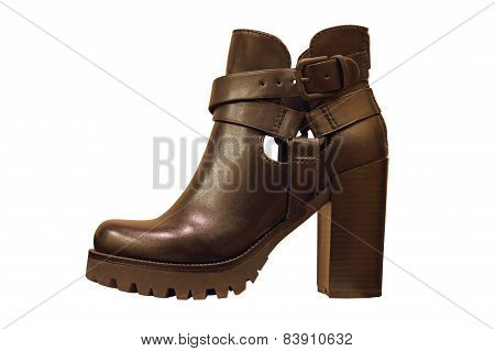 Black high-heeled womanish boot.Isolated.