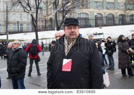 Politician Gennady Gudkov Before The Opposition March Memory Nemtsov