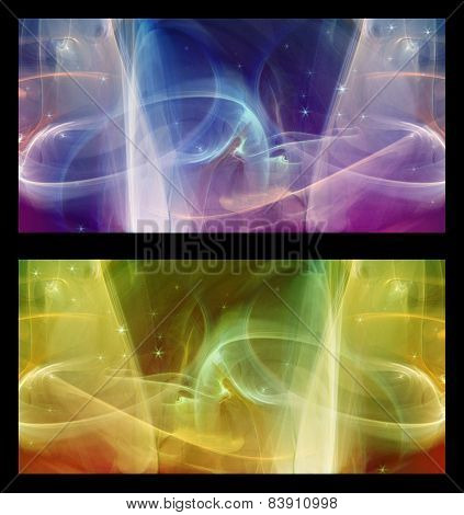 Two Abstract Fractal horizontal backgrounds cosmic light in  different colors