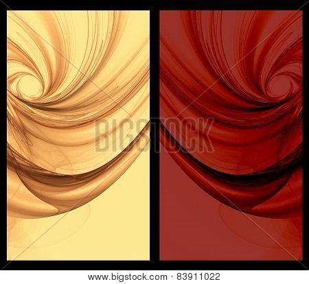 Two Abstract Fractal vertical backgrounds tulle effect in gold red
