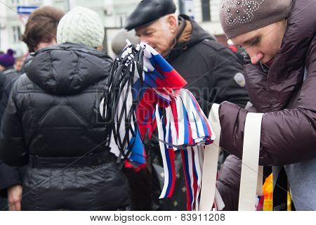 The Russian Flags With Mourning Tapes Before Mourning March Of Memory Of Nemtsov