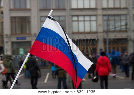 The Russian Flag With A Mourning Tape
