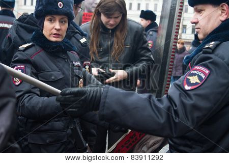 The Russian Police Searches Participants Of Oppositional March