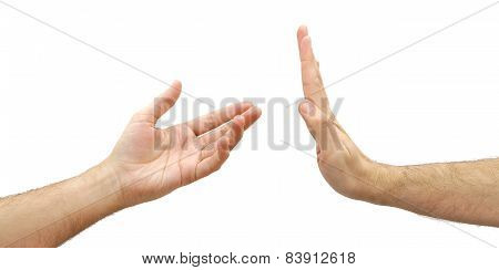 Man hand refusing to help. Selfishness concept isolated on white background
