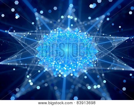 Blue Glowing Connections In Cyberspace