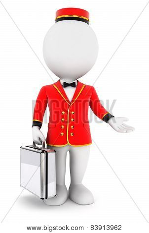 3d white people bellboy