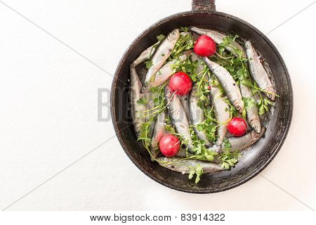 Smelts Fish In The Pan