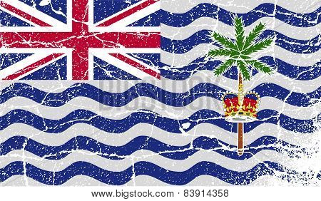 Flag Of British Indian Ocean Territory With Old Texture. Vector