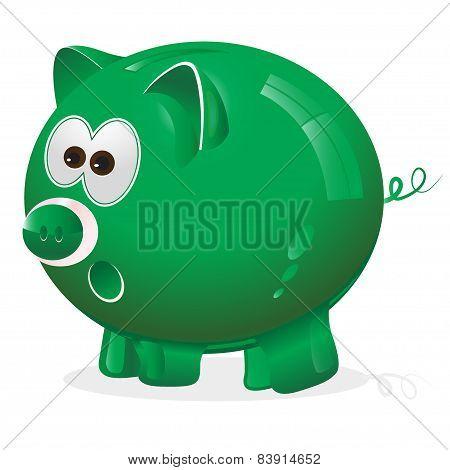 green piggy bank for savings