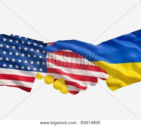 Ukraine And Us Flags