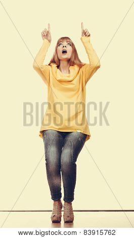 Woman Showing Copy Space Looking Up
