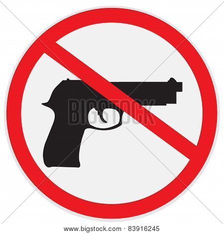 No, guns, allowed, sign, vector, illustration