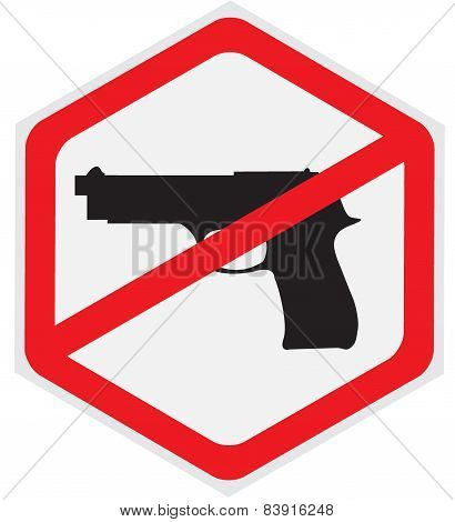 No, guns, allowed, sign, vector, illustration, hexagon