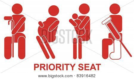 Priority seats, sign, vector, red, illustration, help