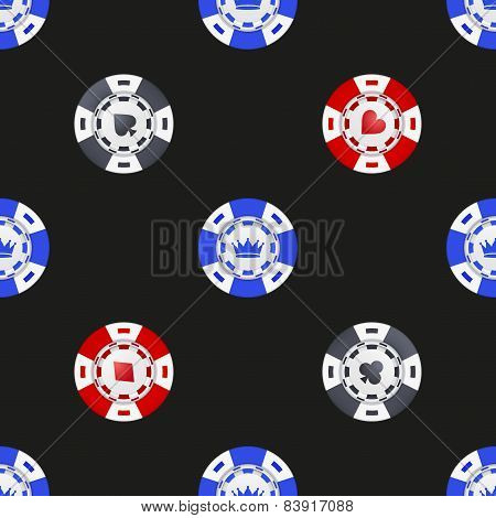 Universal casino chips seamless patterns.