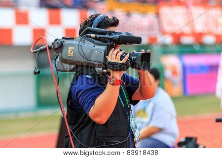 Sisaket Thailand-february 18: Cameraman During Thai Premier League Match Between Sisaket Fc And Bec