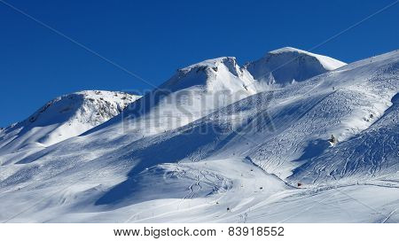 Ski Slope And Mountain