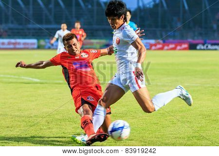 Sisaket Thailand-february 18: Jakkapong Somboon (orange) Of Sisaket Fc. In Action During Thai Premie
