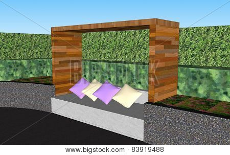 3D Seat Wall With Wooden Roof