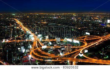 Top View Of Expressway Highway In Bangkok Thailand