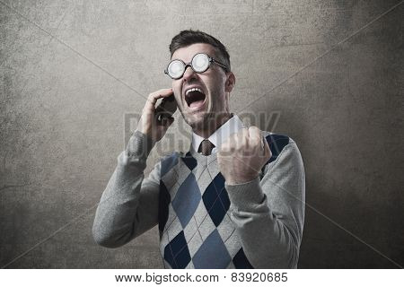 Angry Guy Yelling At Phone