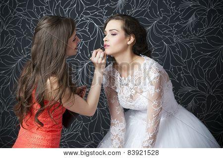 Makeup Artist Applies Lipstick Bride