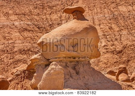 Mushroon Shaped Hoodoo With Chimney Goblin Valley State Park Rock Canyon Utah