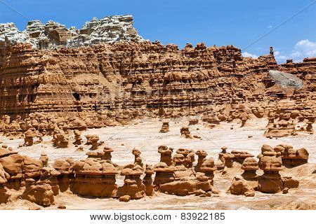 Blue Mountain Mushroon Shaped Hoodoos Goblin Valley State Park Rock Canyon Utah