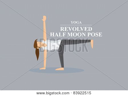 Yoga Asana Revolved Half Moon Pose Vector Illustration