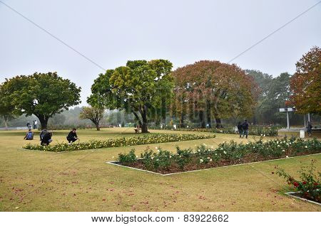 Chandigarh, India - January 4, 2015: People Visit Zakir Hussain Rose Garden