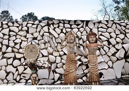 Chandigarh, India - January 4, 2015: Rock Statues At The Rock Garden In Chandigarh