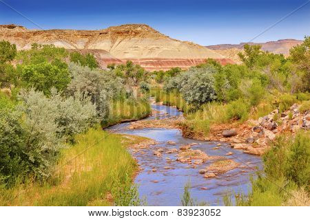Red White Sandstone Mountain Fremont River Capitol Reef National Park Torrey Utah