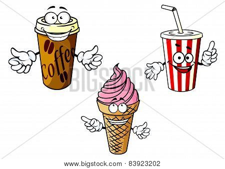 Takeaway cartoon coffee, soda, ice cream