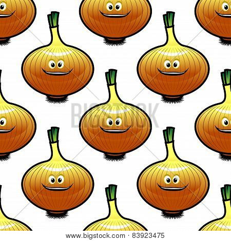 Seamless pattern with golden onion vegetable