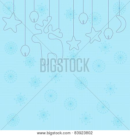 Light-blue Christmas Background Decorated With Violet Hanging Reindeer, Stars, Moon, Santa`s Sleigh