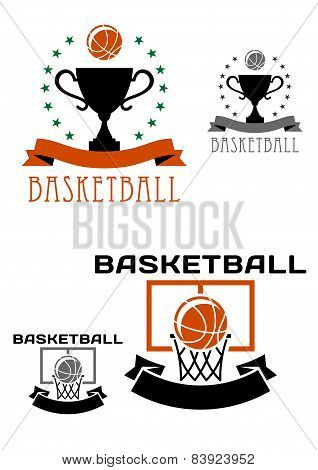 Basketball logo with balls, basket, trophy