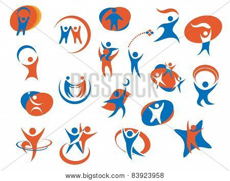 People silhouette icons or logo templates