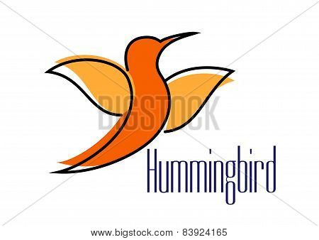 Silhouette of orange hummingbird or colibri bird