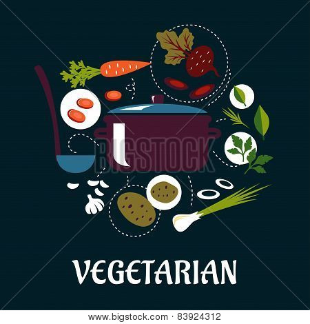 Cooking vegetarian dish flat infographic