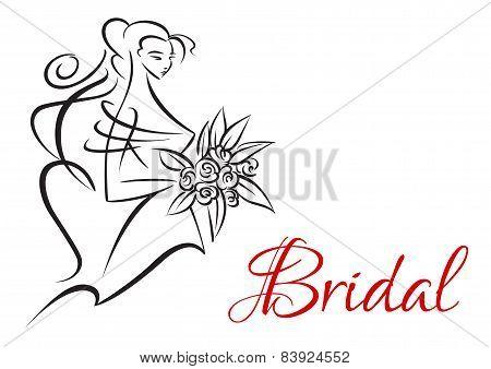 Bridal invitation template with pretty bride
