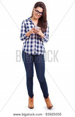 Hipster Girl Using Smartphone