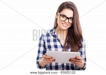 Happy Hipster Girl With Tablet