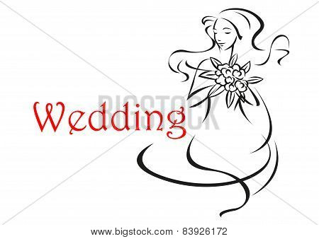 Bride with long curly hair wedding card