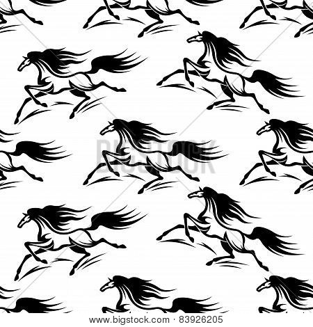Black horses silhouettes seamless pattern