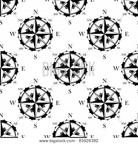Retro nautical compasses seamless pattern background