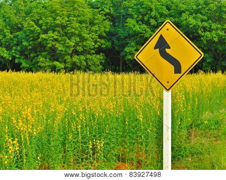 Yellow Winding Road Sign