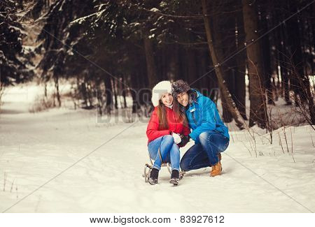 Happy Couple In Winter Forest