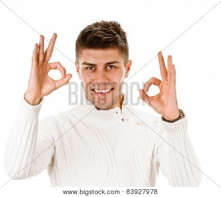 young guy indicating ok sign
