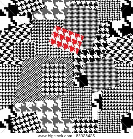 Patchwork with houndstooth ornament.