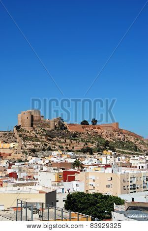 Almeria castle and city rooftops.